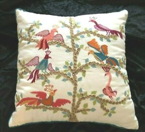 """World Market Cost Plus 3D Embroidered Birds in Tree Throw Pillow 18"""" Sq. $49.99"""
