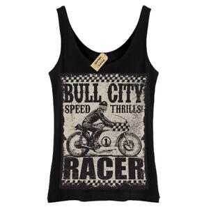 Bull city T-Shirt Speed thrills racer biker motorbike Vest Womens