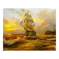 5D DIY Diamond Painting Sailing Ship Cross Stitch Embroidery Rhinestones