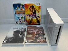 NINTENDO WII CONSOLE ONLY WHITE MODEL RVL-001.  FOR PARTS OR REPAIR. + 4 Games
