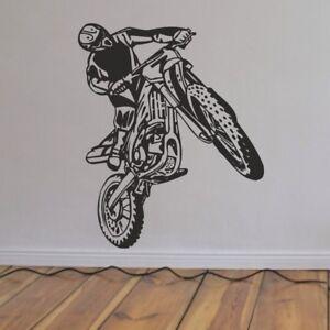 Moto Cross Crosser Motorrad Wandtattoo Wandbild Aufkleber Wandfolie 58 x 70 cm