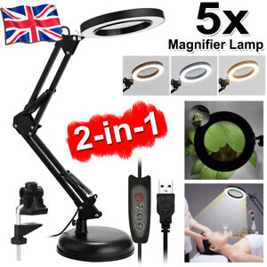LED Desk Lamp 5X Magnifier Glass Foldable Light Stand Clamp Beauty Magnifying UK