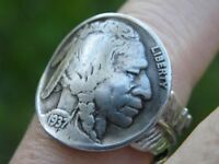 Ring Buffalo Indian Nickel coin feather silver plated 6 to 11 size adjustable