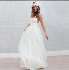 UK Beach White/Ivory Spaghetti Strap V-neck Wedding Dress Bridal Gown Size 6-22