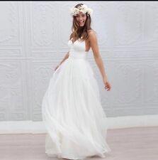 UK Beach White/Ivory Spaghetti Strap V-neck Wedding Dress Bridal Gown Size 6-22