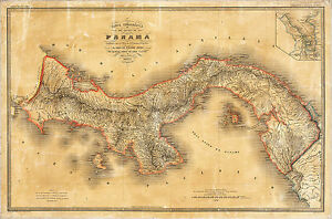 1865 Panama Map When It Was Still Part of Colombia Historical Wall Print Poster