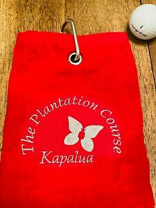 Kapalua Golf Course Hawaii Red Triple Folded Embroidered Towel with Metal Clip