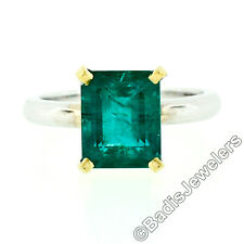 New 18K Two Tone Gold GIA 3.38ct Brazilian Emerald Cut Solitaire Cocktail Ring