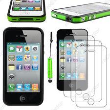 Housse Coque Etui Bumper Vert / Noir Apple iPhone 4S 4+Mini Stylet+3 Film écran