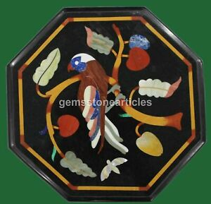 """12""""x12"""" Black Marble Bird Inlaid Side Coffee Table Top Christmas Present"""