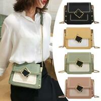 Women Shoulder Bag Casual PU Leather Crossbody Tote Chain Square Messenger Purse