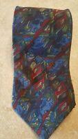 "J Garcia Mens Tie Abstract Jerry Garcia Art Navy Blue Red Green 57"" Silk USA"
