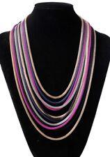 Boho Statement Bib Necklace Chain Gold Silver Black Pink Blue Wedding Birthday