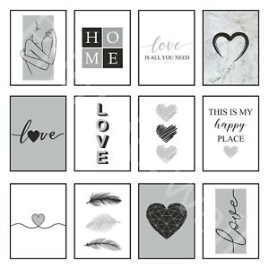 Love Art Prints Home Wall Art Posters Grey Decor Bedroom Heart Feather A3 A4 A5