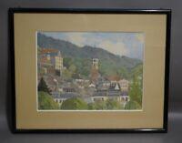 Jakob HELLMANN (1877-1953) - Blick auf die Stiftskirche in Baden Baden