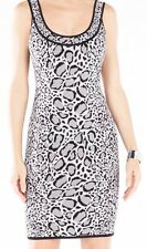 "BCBG MaxAzria Dress ""Tory"" Black/Comb/Gray Leopard Print Sz Large $298"
