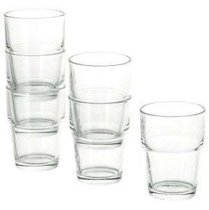 IKEA REKO Small Glass Juice Water Milk Everyday Drinks Tea Cups 17cl Pack of 6