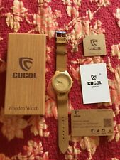 CUCOL Men's Bamboo Wooden Watch with Brown Cowhide Leather Strap Japanese