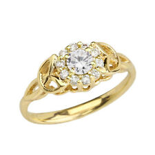 Solid  Gold CZ Engagement/Promise Ring