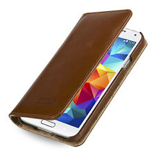 TETDED VINTAGE BROWN REAL LEATHER  WALLET CASE COVER FOR SAMSUNG GALAXY S5 I9600