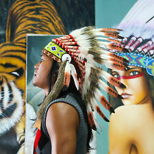 Real Chief Indian Headdress 65cm Native American Costume Feathers War Bonnet Hat