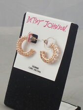 Betsey Johnson Rose Goldtone HOLIDAY CZ Clear Cubic Zirconia Hoop Earrings $35