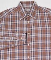 BRIONI Very Recent Brown w/ Blue Plaid Cotton Dress Shirt~ Medium