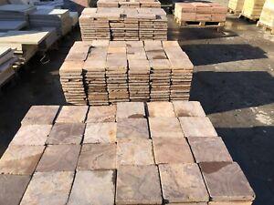 Terrassenplatten Marmor 40x20 Und 20x20cm rot geschliffen Kanten Getrommelt 1qm