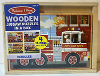 Melissa & Doug 4-Twelve Piece Wooden Jigsaw Puzzles In A Box - Vehicles - Sealed