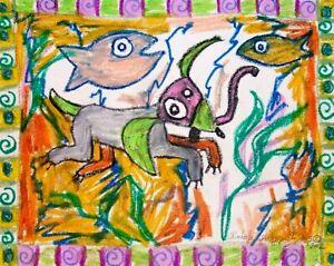 Kimberly Helgeson Sams 11x14 dog outsider art print SIGNED See Spot Snorkel