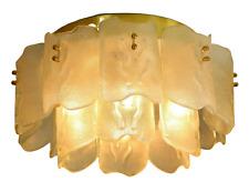 Orrefors Glass & Brass Chandelier Ceiling Fixture Flush Mount Carl Fagerlund XL