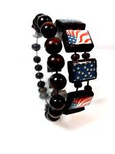 ELEGANT DARK WOOD AMERICAN USA FLAG BRACELET SET NEW UNISEX UNIQUE NATION(ST12)