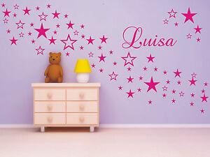 Wandtattoo * 90 Sterne mit Namen * Wunschname * Kinderzimmer * 2 Farben möglich