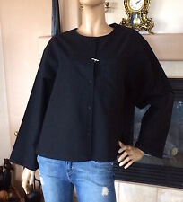 UNIQLO UUU LEMAIRE WOMEN BLACK OXFORD COLLARLESS LONG-SLEEVE SHIRT NWT SIZE XS