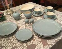 Flintridge China Snow Tulip Blue Dinner set for 3
