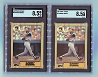 (2) Two 1987 Topps Tiffany *Barry Bonds* Rookie Cards (RC) SGC 8.5 ~Comp. to PSA