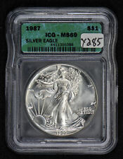 1987 1 oz AMERICAN EAGLE $1 SILVER DOLLAR *ICG MS 69* LOT#Y285
