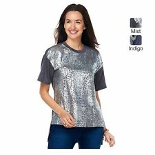 DIANE GILMAN NEW FOIL FRONT SHORT SLEEVE TEE IN GREY MIST US PLUS SZ 1X or 18-20