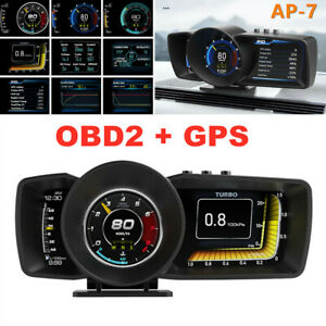 OBD2+GPS HUD Head Up Car Digital LCD Display Speedometer Turbo RPM Alarm Temp
