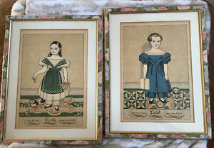 Framed Early American Folk Art VERITY & CALEB Pair - Mourning Portraits 1990's