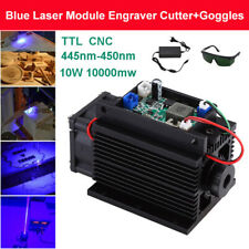 Focusable PWM 10W 10000mW 450nm-445nm TTL Blue Laser Module Engraving + Goggles
