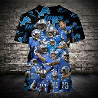 Detroit Lions Short Sleeve T-Shirt Football Casual Tee Shirt Summer Tops S-5XL