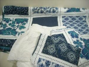 1 QUEEN QUILT PATCHWORK NAVY BLUE WHITE & TEAL BEDSPREAD SET 2 SHAMS & 1 SKIRT