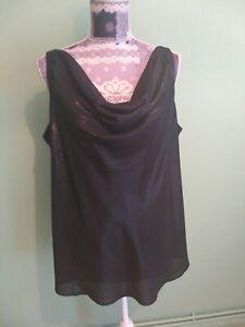 Etam Top size 20   Blouse  Sleeveless Cowl Neck  Black