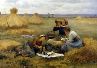 Oil painting Daniel Ridgway Knight - Dejeuner dans les Champs Lunch Hand painted