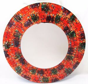 "Mirror ""Tangerine Dreams "" hand made wall mount 16"" mosaic glass Home Decor"