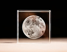 Mylifestyle 3D Moon Paperweight(Laser Etched) in Crystal Glass Cube Birthday Gif