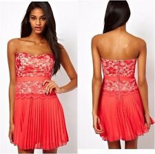 NWT Elise Ryan Lace Bandeau Skater Dress Pleated Skirt Coral Party XS UK 8 US 2
