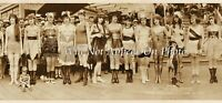 "1920 Vintage Panoramic Photograph Bathing Beauties Balboa, CA 36"" Long Panorama"