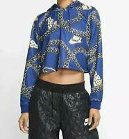 Women's Nike Sportswear Icon Clash Crop Top Hoodie Blue/Gold #CJ6305-455 Sz Med